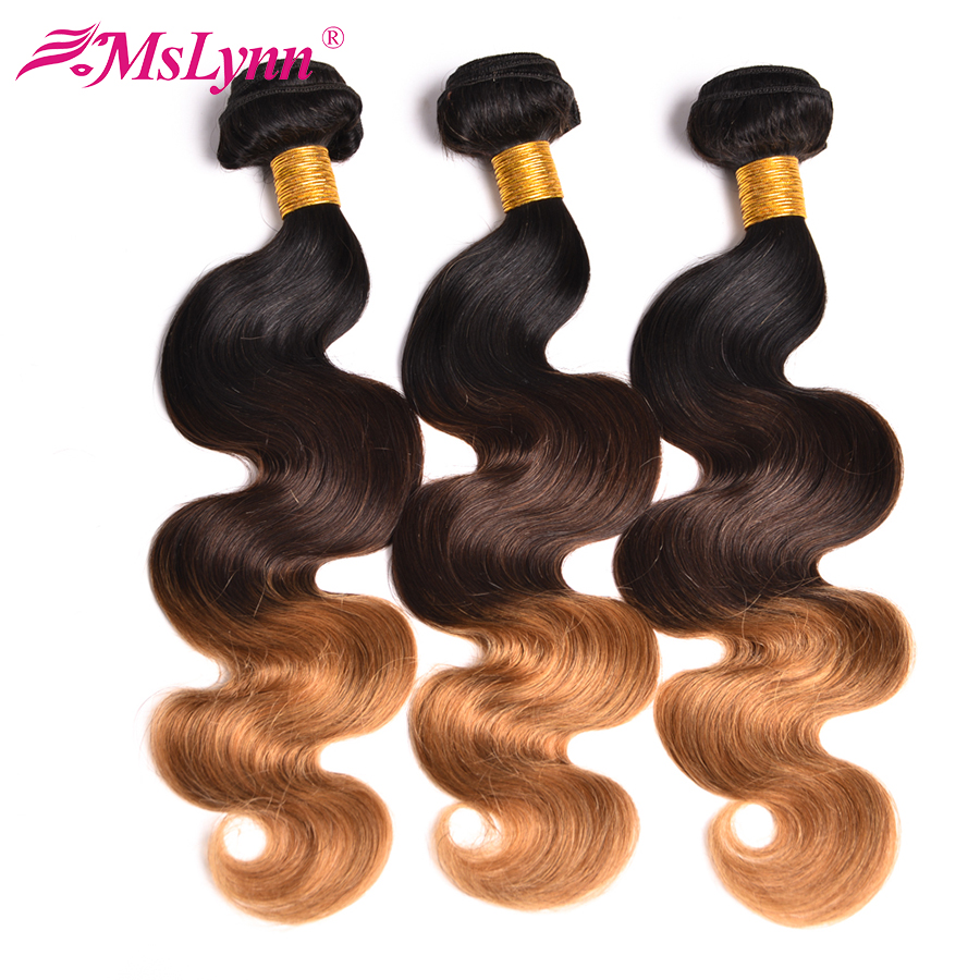 Ombre Hair Bundles Body Wave Bundles T1B / 4/27 Brazilian Hair Weave Bundles 3 Tone Blonde Human Bundles Hair Mslynn NonRemy Hair