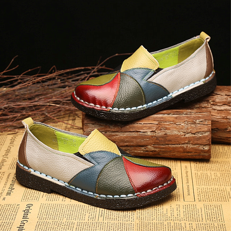DONGNANFENG Women's Ladies Female Woman Shoes Flats Mother Shoes Cow Genuine Leather Loafers Ballerina Colorful Non Slip On Zapatillas Mujer Ballet Designer Mocassin Femme Slip-On Mixed Colors Plus size 35-42 OL-2098 1