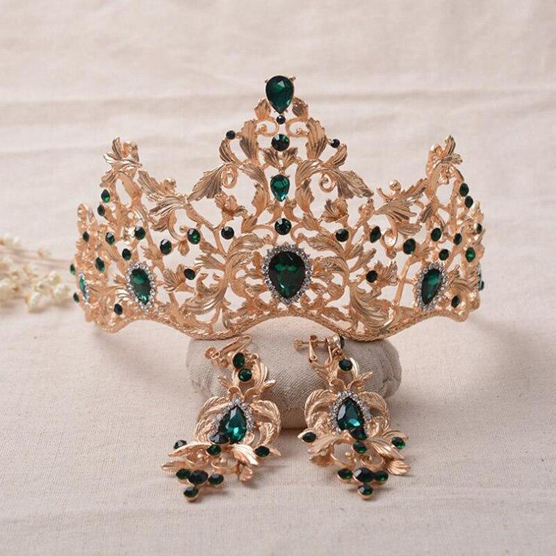 Prix pour 2017 Nouveau Mode Baroque Magnifique Rouge Cristal De Mariée Diadèmes De Mariage Vert Couronne pour Mariée Mariage De Reconstitution Historique de Cheveux Accessoires