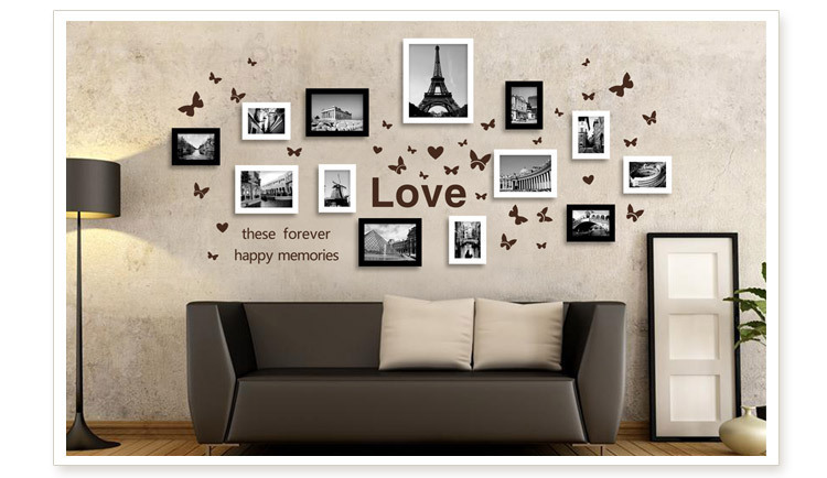 Wood Muti Frame Phone 13box Rectangle Multi Dimension Picture Past With Plant Wall Stick Card In From Home Garden