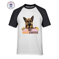 2017 Funny Hip Hop Printed Funny German Shepherd Need Coffee Cotton Funny T Shirt For Men