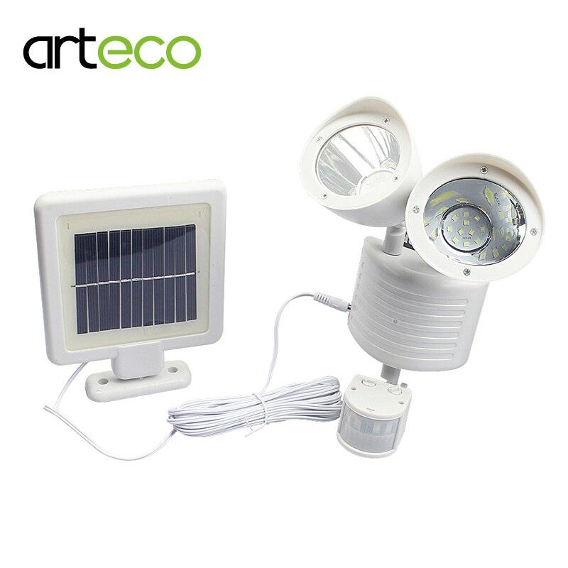 Double tête PIR capteur de mouvement lumière solaire 22 LEDs avec minuterie étanche extérieur jardin sécurité spot solaire applique murale