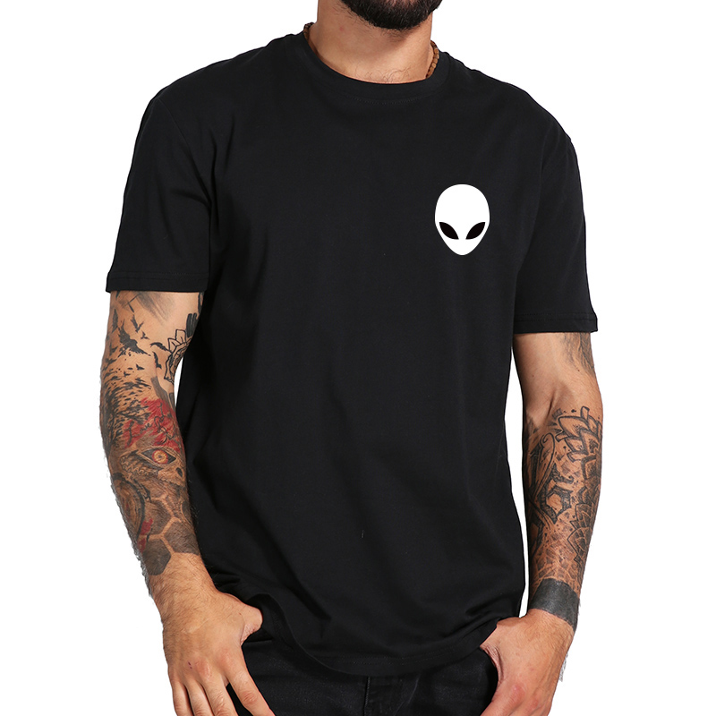 100% Cotton Alien   T     Shirt   Short Sleeve Casual O Neck Men Tshirt Black High Quality Summer Soft   T  -  shirt   Male Tops Tee