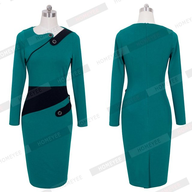 Black Dress Tunic Women Formal Work Office Sheath Patchwork Line Asymmetrical Neck Knee Length Plus Size Pencil Dress B63 B231