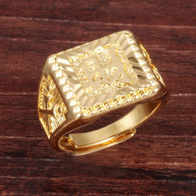 "line Shop Pure Gold Color "" Wealth "" Chinese Letter Men s Ring"