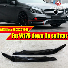 2PCS ABS Black Car Styling Bumper Down Lip Splitters Fits For Mercedes Benz W176 A Class A180 A200 A250 A45AMG look 2016-2018 цена
