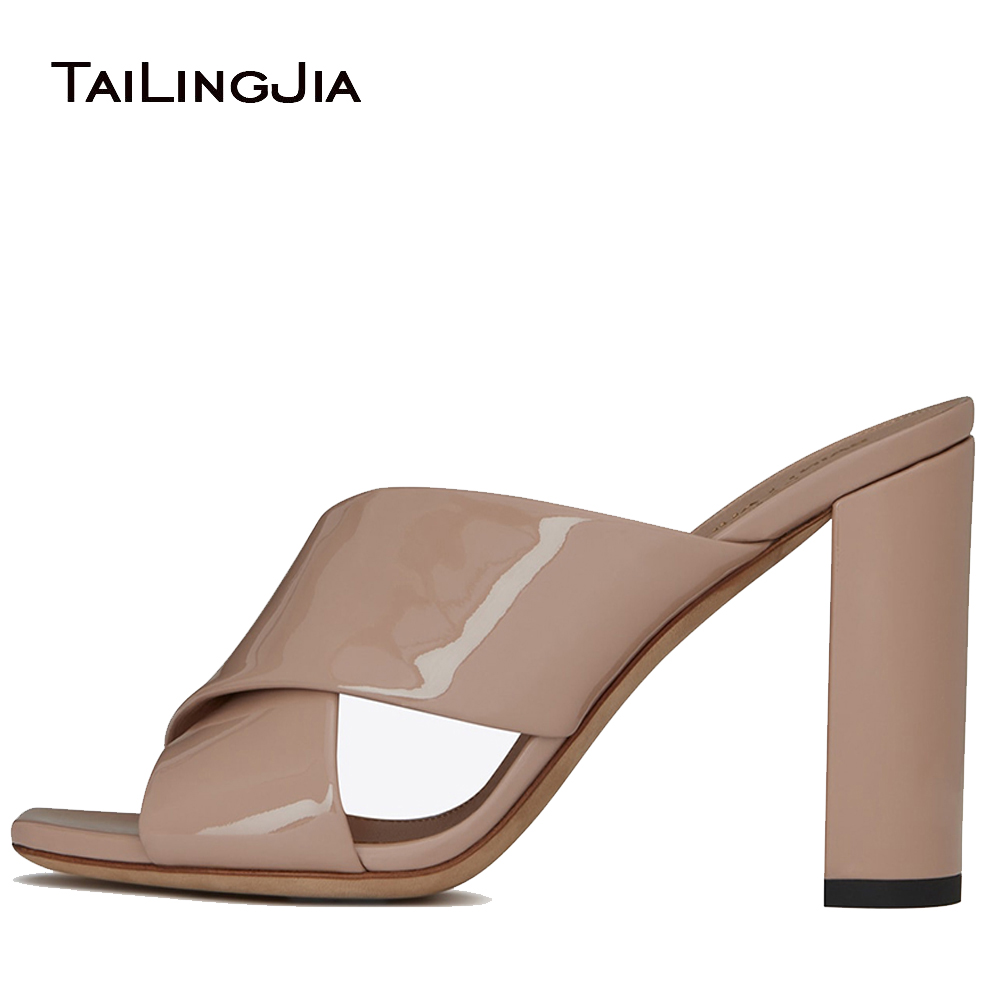 Women Square Open Toe Cross Band Chunky Heel Mules 2018 High Heel Black Sandals Elegant Nude Heels Ladies Summer Shoes Big Size 2017 real top cover heel open casual sapato feminino melissa genuine big size retro solid square heel shoes woman ladies womens