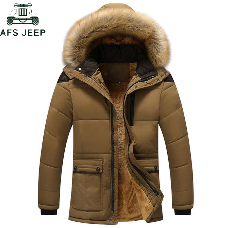 Thicken Fleece   Parka   Mens Winter Fur Collar Coat Hooded Jacket Men Winter Windproof Jackets and Coats Plus Size 5XL Outwear