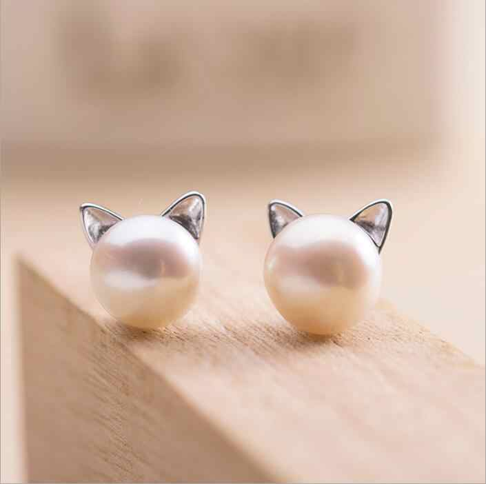SMJEL New Fashion Simulated Pearl Cat Stud Earrings for Women Animal Earring Jewelry Pendientes Brincos 2018 Dropshipping