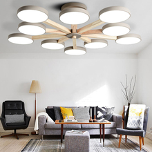 Led Colourful Ceiling Lamps Wood Ceiling Lights Atmosphere Bedroom Dining Room 3/6/8 Heads Bedroom Living Lighting Fixture Avize цена