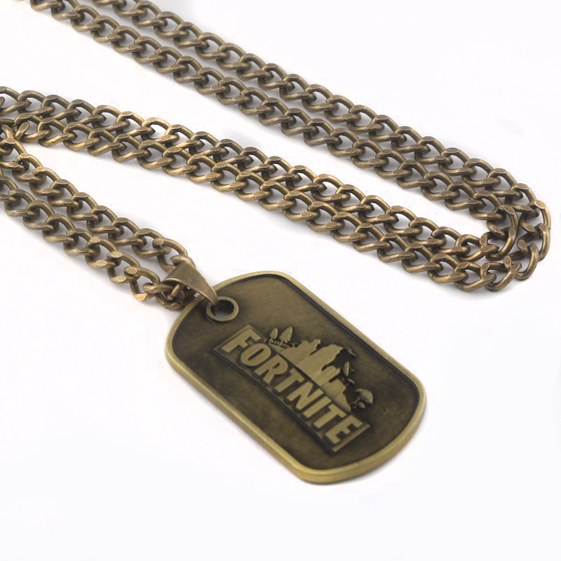 RJ Hot Game Fortnite Necklaces Pendants Bronze #1 Victory Royale BF4 Ready Player One Cion Car Keyring Women Men Gift Jewelry