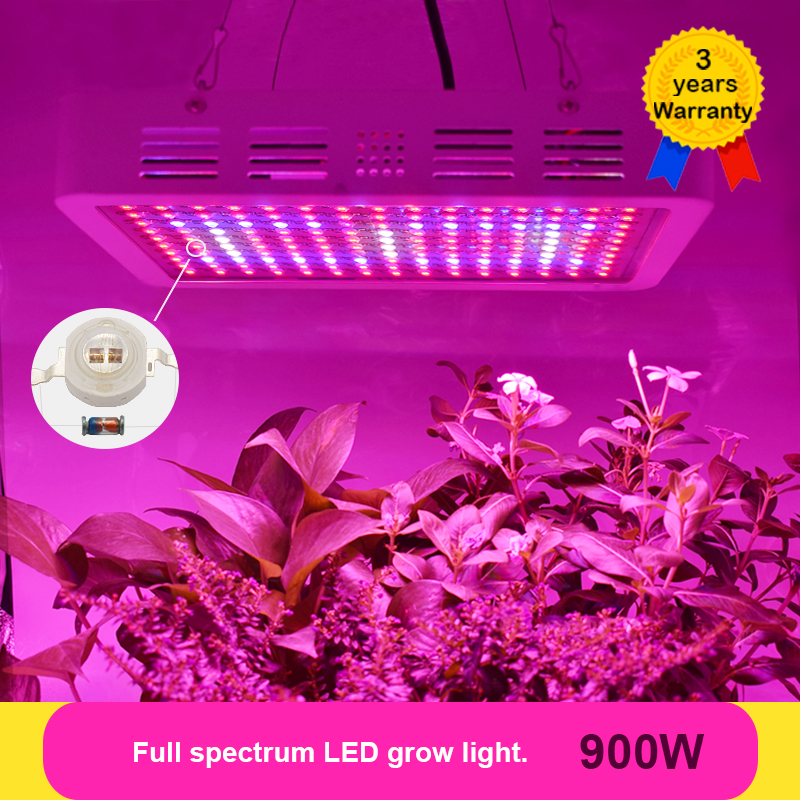 Double Chip 900W LED Grow Light Full Spectrum LEDs Plant Lighting Fitolampy Lamps for Plants Flowers Seedings Growing Greenhouse 600w led grow light full spectrum leds plant lighting lamp for plants seedings flowers growing greenhouses 100 6w double chips