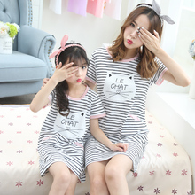 23331f0e4f Mother Daughter Dresses Pajamas Robe Girls Nightgowns Causal 100% Cotton  Family Clothing Dress Mother and