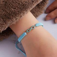 Green Naturestone Bracelets Friendship Sea Turtle Charm Handmade Weave Rope Blue