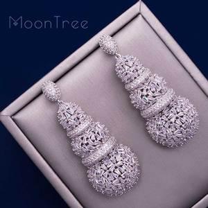 Image 5 - MoonTree 68mm דלעת יוקרה עיצוב מלא מיקרו מעוקב Zirconia אפריקאי אירוסין מסיבת שמלת עגיל תכשיטים לנשים