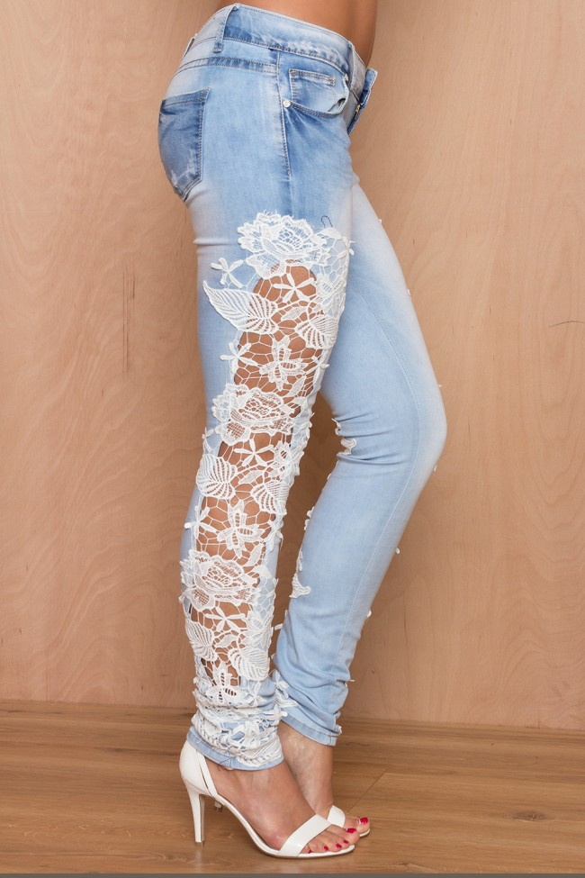 2016 Womens Spring And Autumn Stitching Slim Stretched Denim Pants Light Blue Casual Jeans Lace Holow-Out Denim Pants J1346