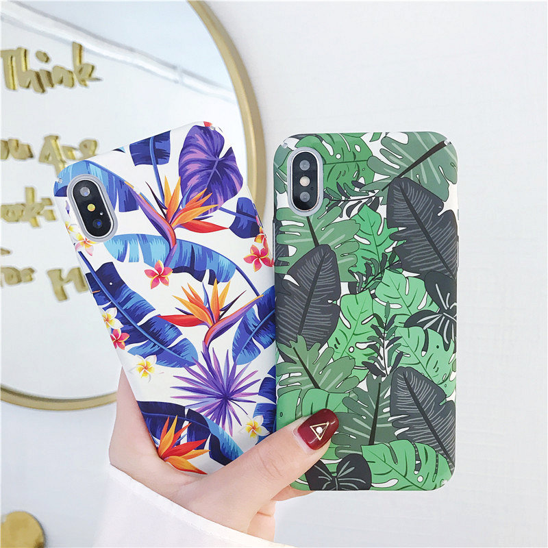 Marble Pattern Phone Case For iPhone X Case for iPhone 6 6s 7 8 Plus Tropical Leaves Green Plants English letter Hard PC Cover