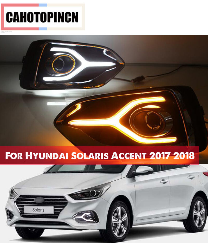 For Hyundai Solaris Accent 2017 2018 12V LED Car DRL Daytime Running Light fog lamp with