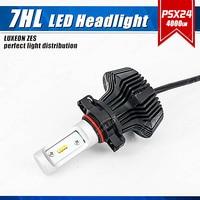 1 Set PSX24W 50W 8000LM G7 LED Headlight Kit LUMI LUXEON ZES Chips Fanless Pure White 6500K W/ Driver Driving Fog Lamps Bulbs