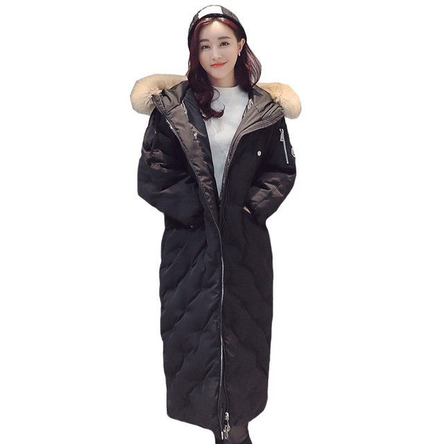 3 Colors Available Women Winter Bread Coat Long Sleeve Hooded Long Jacket Thick Warm Down Cotton Jacket Large Size Parkas QYX38