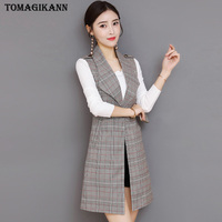 Autumn Plaid Long Blazer Vest Women Office Slim Single Button Epaulet Women Suit Vest Vintage Waistcoat Sleeveless Jacket