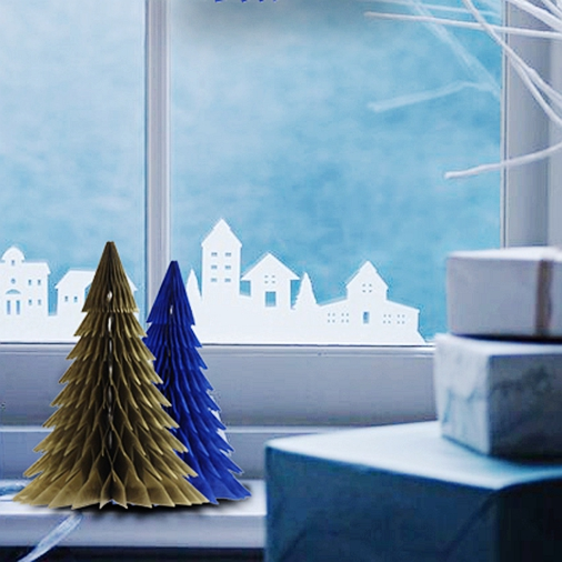 Merry Christmas 1Pcs Tree Gold /Blue Hanging Decoration Home Paper Craft Element
