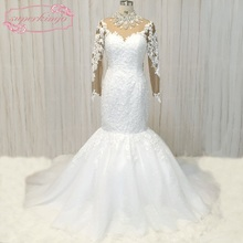 SuperKimJo Long Sleeve Lace Wedding Dresses Mermaid Crystals Luxury African Gown 2017 Vestido De Noiva