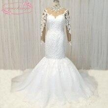 Купить с кэшбэком SuperKimJo Long Sleeve Lace Wedding Dresses Mermaid Crystals Luxury African Wedding Gown 2020 Vestido De Noiva