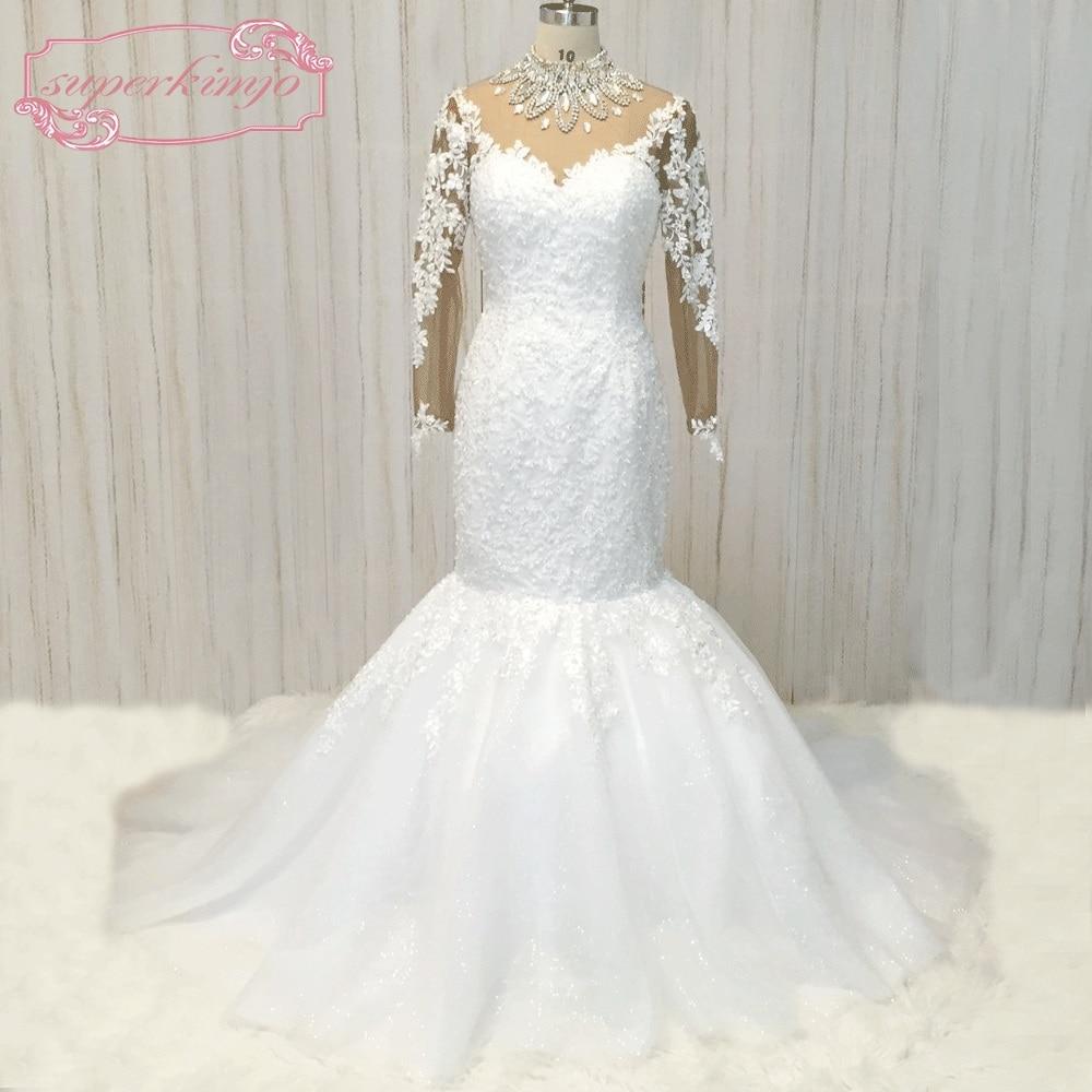 Купить superkimjo кружевное свадебное платье с длинными рукавами и