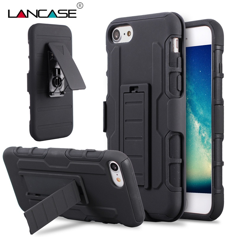 new products d3615 e9f3f US $4.89  LANCASE Phone Cases For iPhone 7 Silicone 3 in 1 Belt Clip  Shockproof Stand Armor Case For iPhone 7 Plus 6 6S Plus 6 Plus 5 5S 4-in  Holsters ...