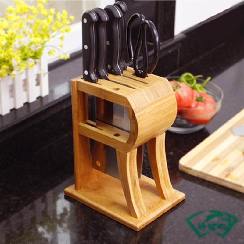 New R shape Kitchen Knife Holder Bamboo Tool Holder Knife Rack Tool Rack Knife Block Kitchen