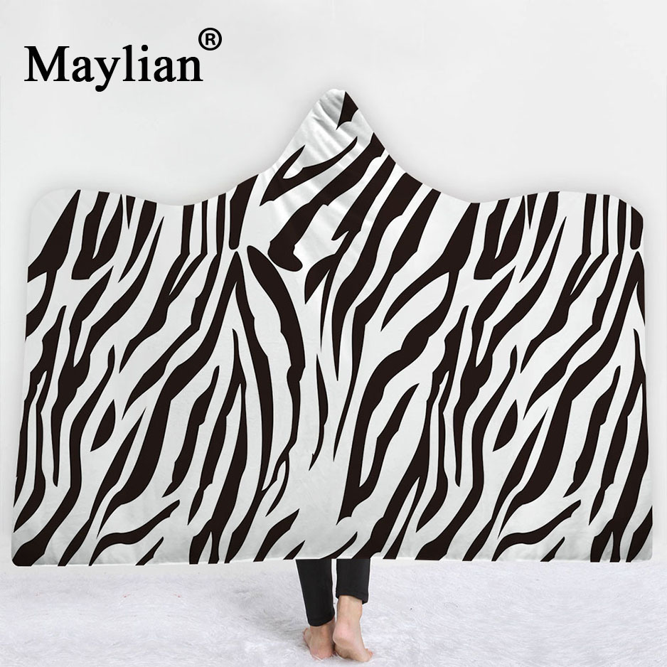 animal Boho Mandala Hooded Blanket Floral Sherpa Fleece Lotus Wearable Throw Blanket Microfiber on Sofa Thick warm B38