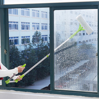 High rise Window Cleaning Mops Telescopic Foldable Handle Cleaning Glass Sponge Mop Cleaner Brush Tools Window Extendable|Mops| |  -