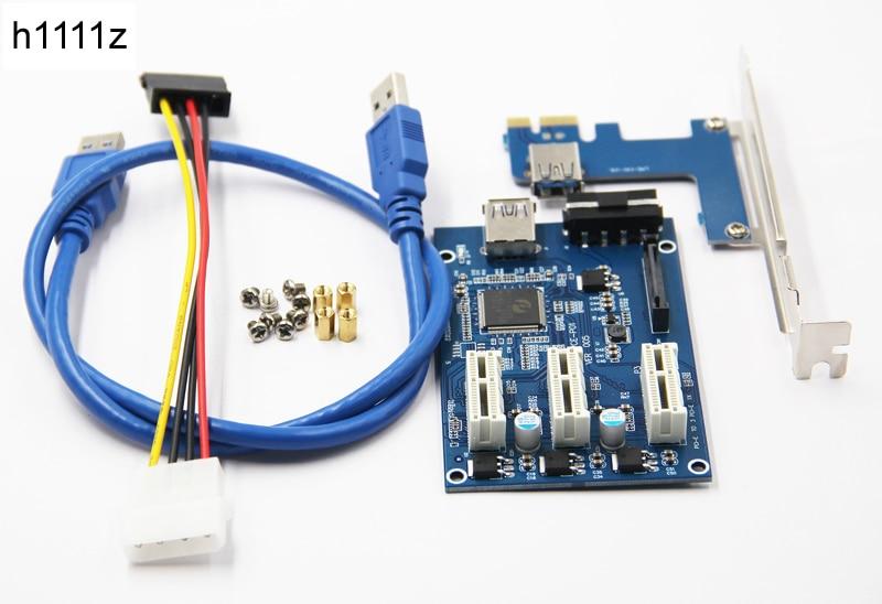 3 en 1 PCI Express PCI e 1X ranuras Riser Card pci-e 1 a 3 adaptador de expansión 2 PCB capa + 60 cm USB 3.0 cable para la minería