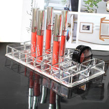 New Style Acrylic 16 Slots Double Powder Storage Box Transparent Makeup Organizer Eyeshadow Blush Sample Display Shelf Box Case(China)