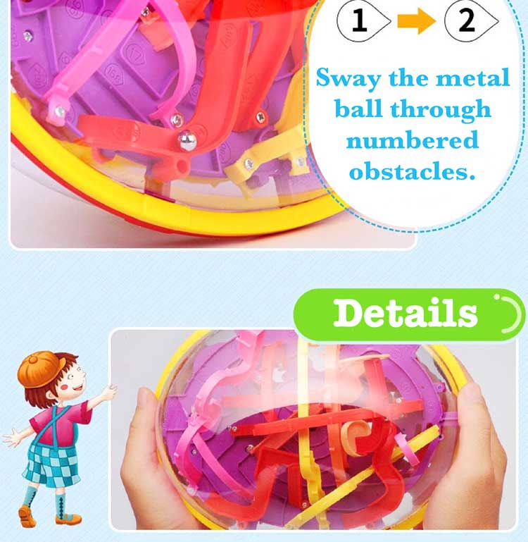 3D Intellect Puzzle Ball Maze Game for Children Educational Metal Toy Wooden Learning Creativity Kids from 1-3