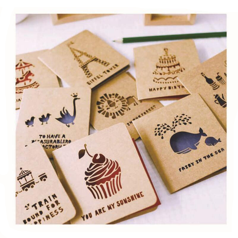 Vintage Laser Cut Hollow Retro Kraft Paper Greeting Card Thanks Postcard Teachers Day  Blessing Birthday Message Card 10pcs/pack 1 set of hollow valentine s day greeting card kraft paper card holiday cards birthday cards blessing