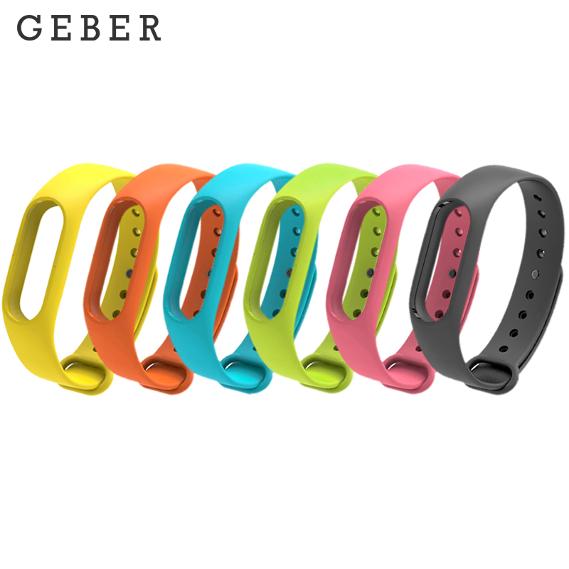 GEBER Colorful Silicone Anti-fading Wrist Strap Replacement Watchband for Original Miband 2 Xiaomi Mi band 2 Wristbands