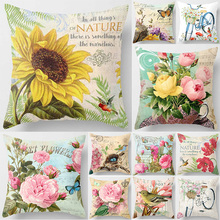 Unicorn beauty sunflower  bikes birds pillow cases square Pillow case cute peonies covers size 45*45cm