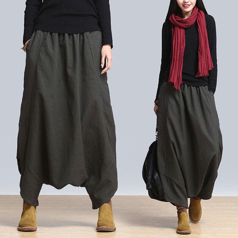 2019 Summer Fashion ZANZEA Solid Baggy Long Pants Women Casual Elastic High Waist Harem Pants Vintage Pockets Loose Trousers
