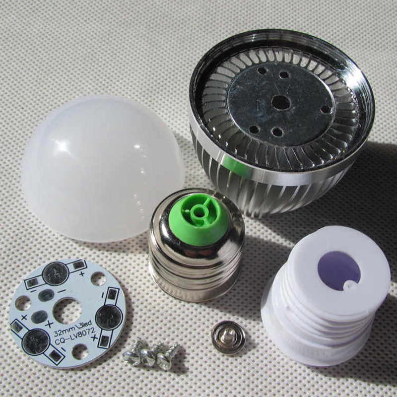 led bulb E27 E14 3w 5w 7w 9w 12w LED bubble ball light shell kit diy accessories aluminum heat sink screw energy saving led lamp