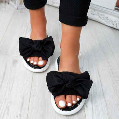 Oeak Moda Kadınlar Bayanlar Yay Flats Sandalet Üzerinde Kayma Peep Toe rahat ayakkabılar Kadın Sandalet zapatos de mujer Drop Shipping