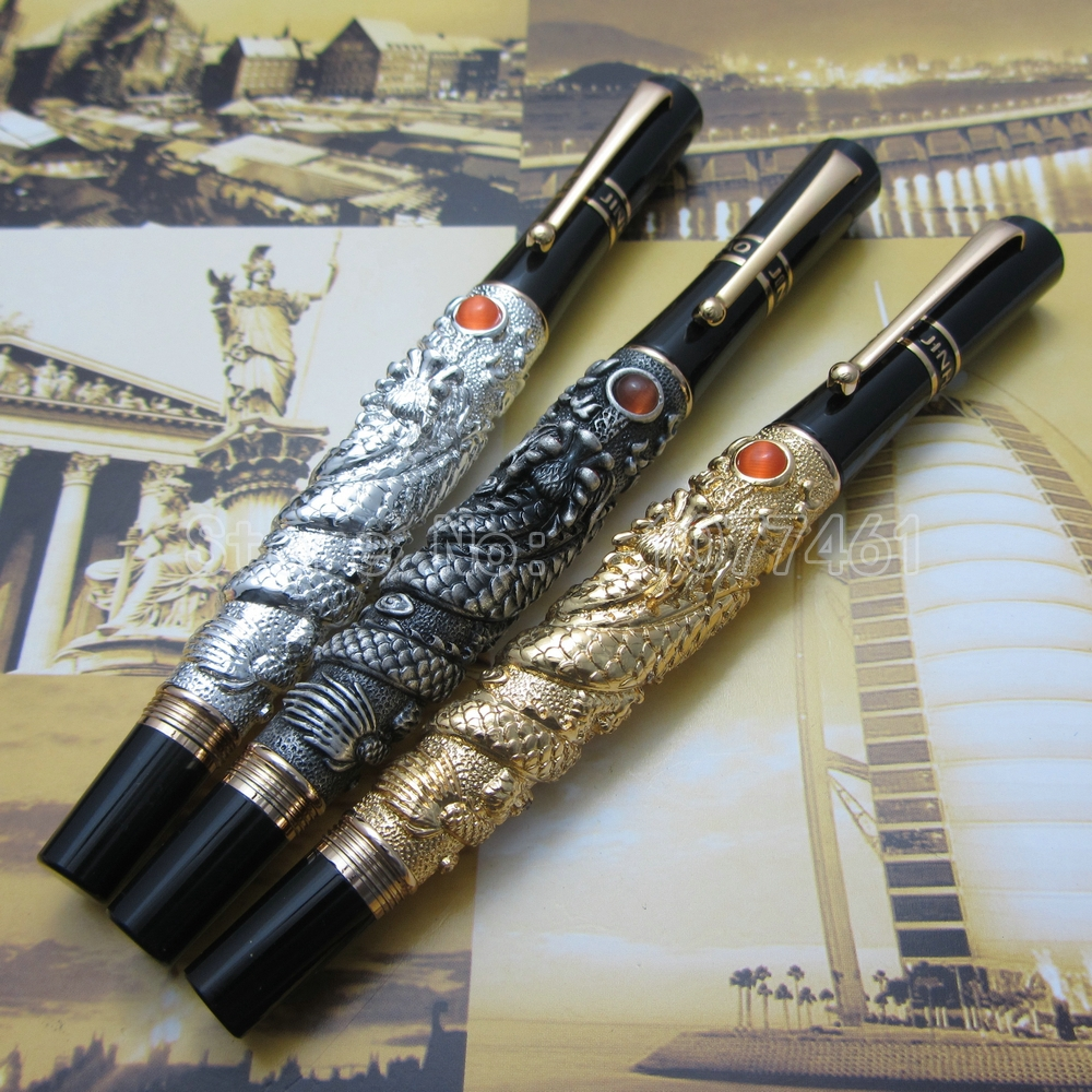 3PCS Jinhao Chinese Dragon thomsonae Ballpoint Pen with Gift Box Gold White Antique Silver  J33K2C roller ball pen jinhao 189 noblest ancient silver medium 0 7mm nib great wall pen