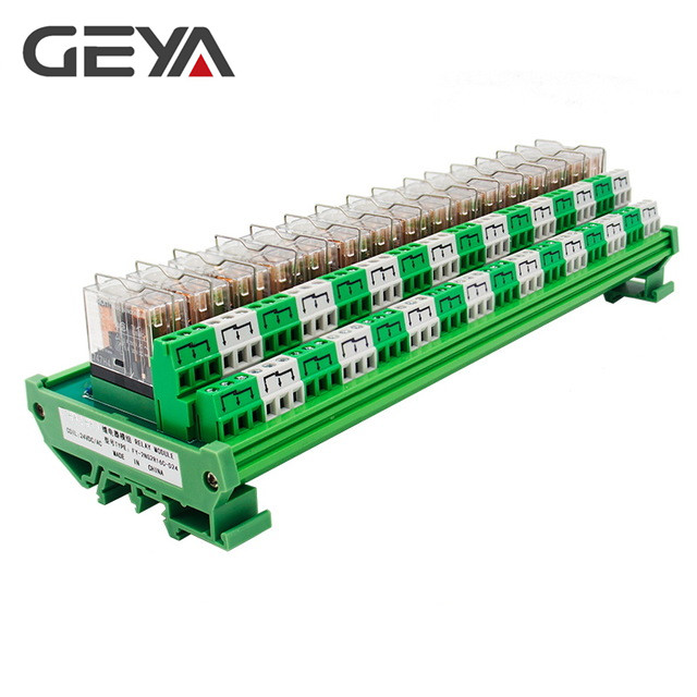 GEYA 2NG2R 16 Channel Omron Relay Module PLC 2NO 2NC 12VDC 24VDC DPDT Relay Replaceable rotary knob dpdt 2no 2nc 8p 0 30seconds timing time relay dc 24v ah3 2