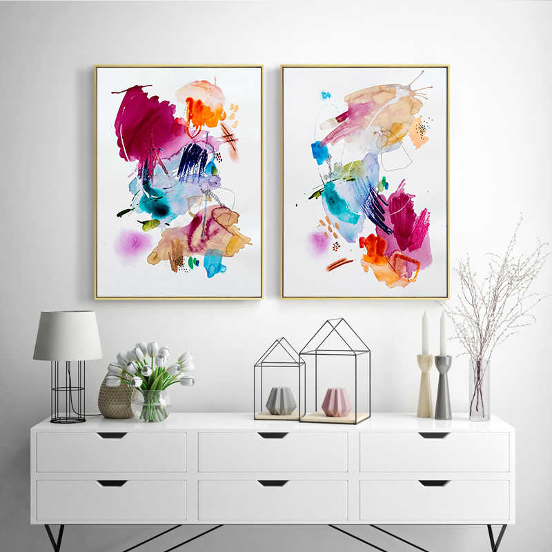 Modern Abstract Canvas Painting Watercolor Wall Art Nursery Graffiti Posters and Prints Colorful Pictures for Living Bedroom