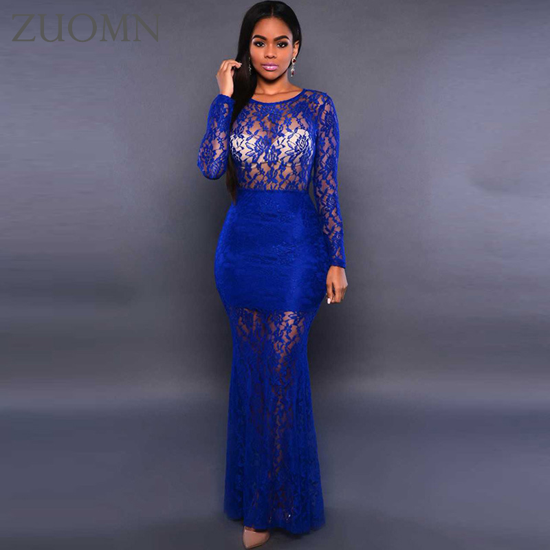 Women See Through Lace Party Long Dresses Lace Perspective Maxi Women Formal Dress Lady Special Occasion Vestidos Dress Y42