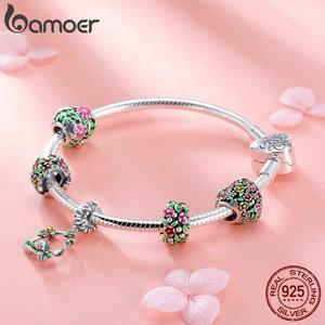 Image 3 - BAMOER Real 925 Sterling Silver Spring Flower Colorful Enamel Charm Bracelets & Bangles for Women Sterling Silver Jewelry SCB804