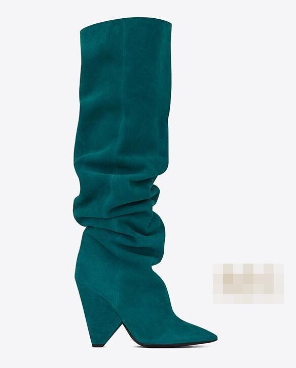 real photos lake blue pointed toe spike chunky heel knee high women boots real photos winter woman spike chunky heel boots цены