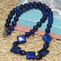 "European style Egyptian Lapis Lazuli jasper Natural stone Diagonal square Beads diy lovely Necklace making 18"" MY5252"