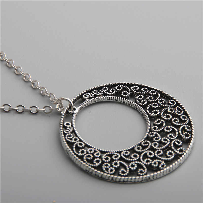 1pc Bohemian Hohle Runde Blumen Anhänger Halskette Kette Lange Halskette Antike Silber Schmuck E574